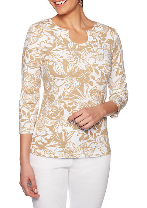 Ruby Rd Must Haves Horseshoe Hibiscus Print Top