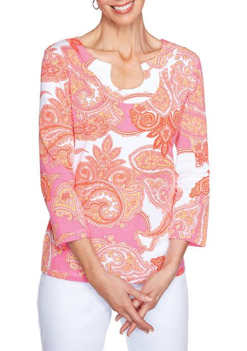 Ruby Rd Must Haves Mock-Surplice Leaf Print Knit