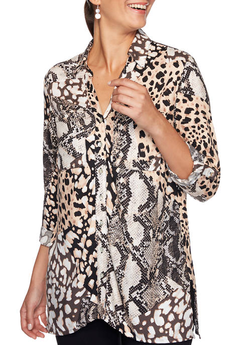 Ruby Rd Womens Must Haves Animal Print Button
