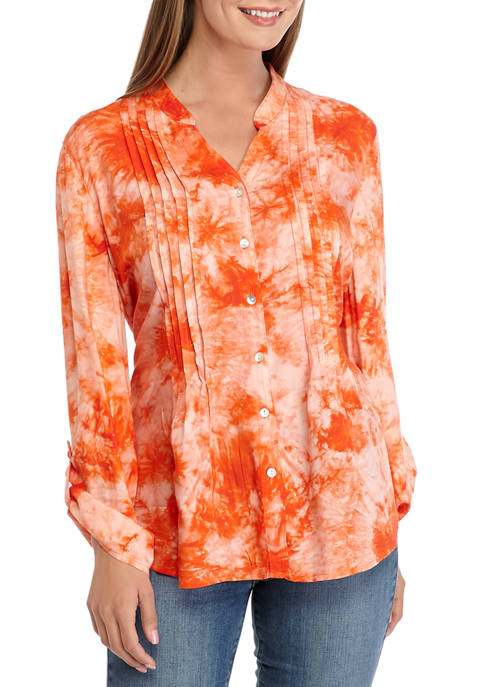 Ruby Rd Womens Tie Dye Button Front Woven