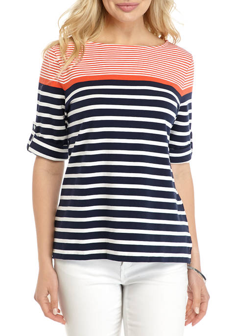 Ruby Rd Womens Must Haves Boat Neck Stripe