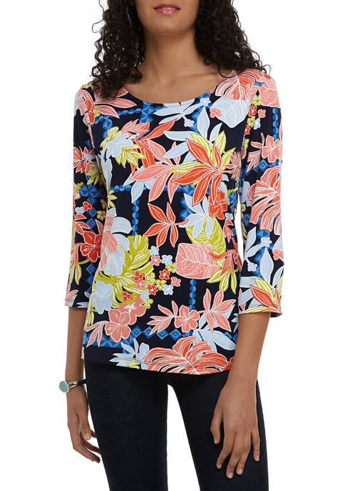 Ruby Rd Womens Must Haves Scoop Neck Floral