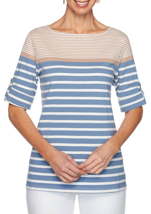 Ruby Rd Plus Size Roll Tab Boat Neck