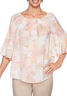 Ruby Rd Make Me Blush Scoop Neck Gauze Top