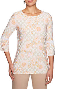 Ruby Rd Make Me Blush Scoop Neck Floral Puff Top
