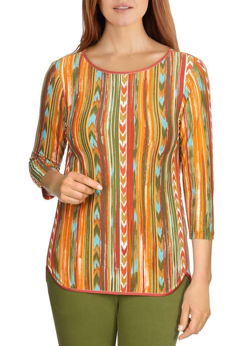 Ruby Rd Womens Earthy Striped Jersey Top