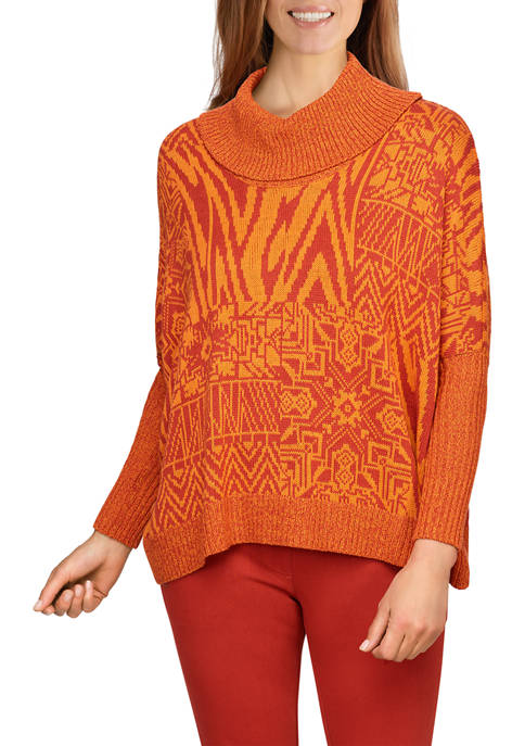 Ruby Rd Womens Oversized Patchwork Printed Sweater