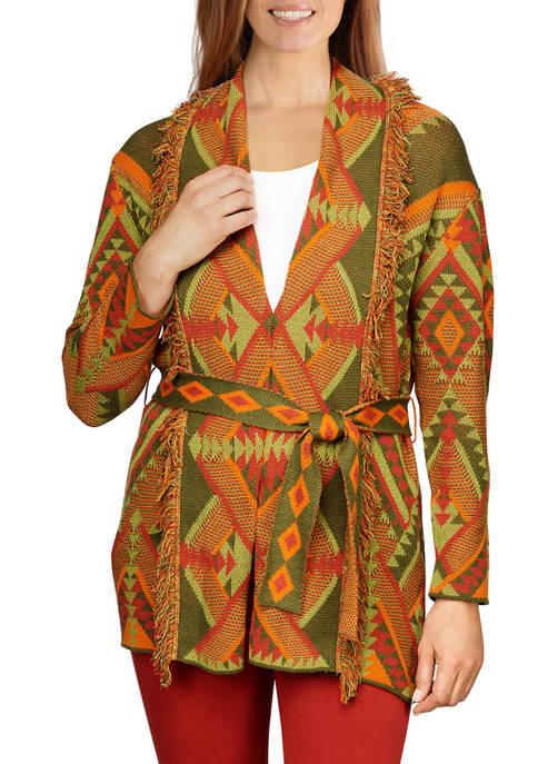 Ruby Rd Womens Jacquard Belted Sweater Jacket Blazer