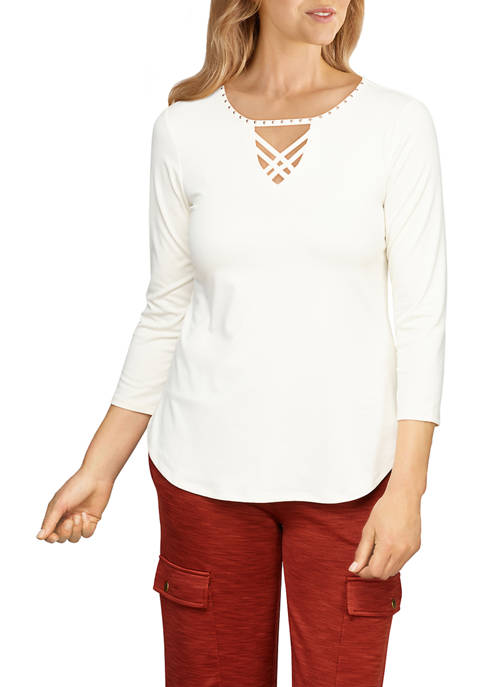 Ruby Rd Womens Embellished Solid Soft Peached Top