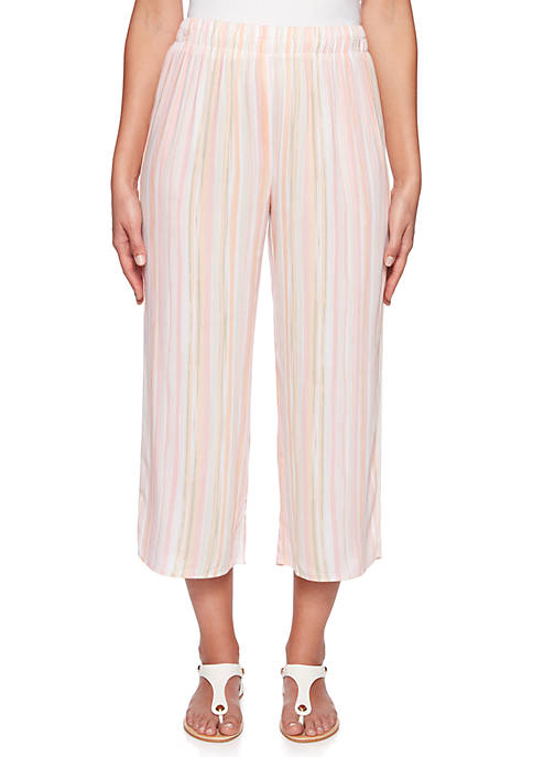 Petite Make Me Blush Stripe Culotte Pants