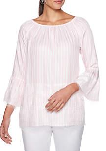 Ruby Rd Petite Make Me Blush Coastal Stripe Blouse with Lace Trim