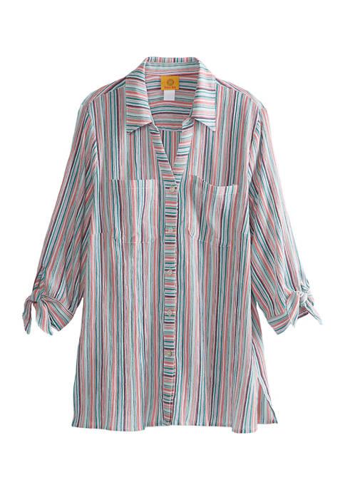 Womens Tropicali 2020 Stripe Button Front Gauze Top