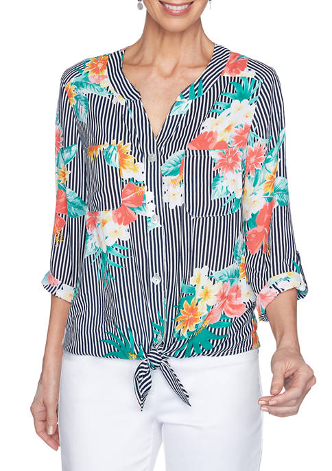 Womens Tropical Tie Front Floral Stripe Woven Top