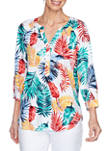Womens Tropical Watercolor Leaf Print Woven Top
