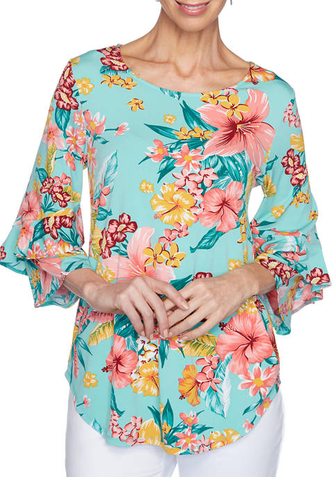 Womens Tropical Floral Print Knit Top