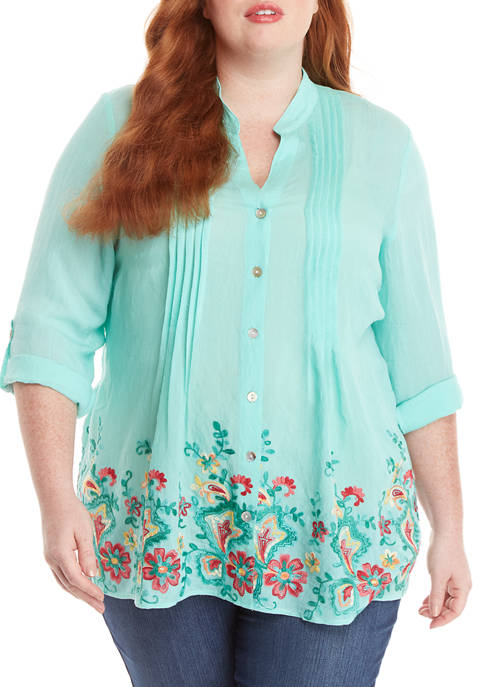 Plus Size Tropicali Roll Tab Embroidered Gauze Top