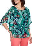 Petite Tropical Butterfly Sleeve Jungle Leaf Print Woven Top