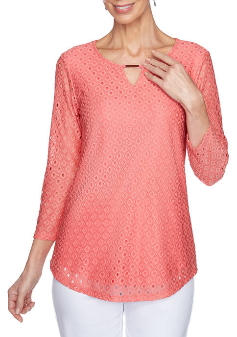 Ruby Rd Petite Tropical Split Neck Eyelet Knit