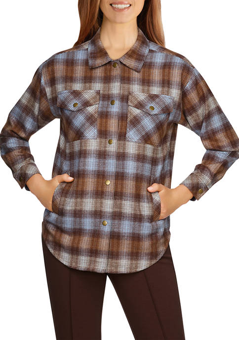 Ruby Rd Womens Button-Front Flannel Plaid Top