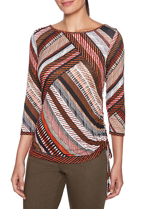 Ruby Rd Diagonal Printed Knit Top with Side