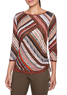 Diagonal Printed Knit Top with Side Ruching