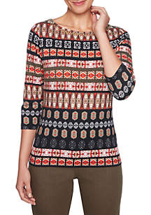 Tribal Bands Printed Top with Foil