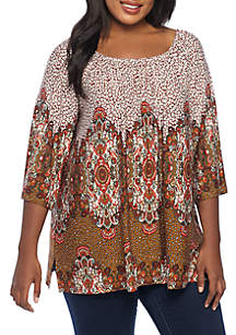 Plus Size Paisley Jungle Printed Knit Top