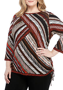 Plus Size Printed Knit Top with Side Ruching