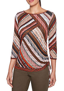 Petite Printed Knit Top With Side Ruching