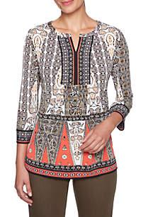 Petite Global Traveler Printed Knit Top
