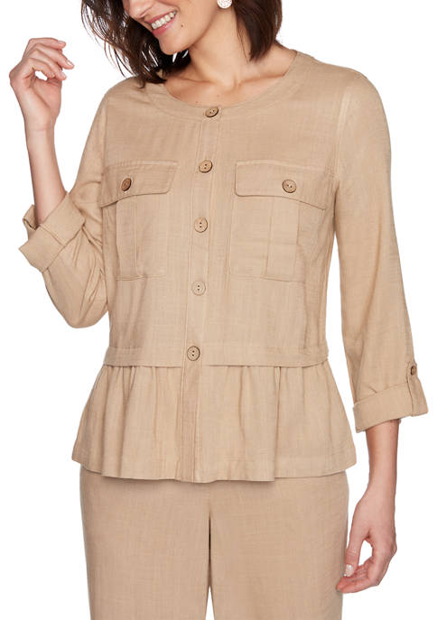 Ruby Rd Womens Golden Hour Pleated Solid Laundered