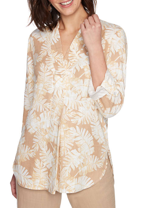 Ruby Rd Womens Golden Hour Tossed Tropical Palm