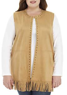 65c6eeee375 ... Ruby Rd Plus Size Suede Fringe Hem Embellished Vest
