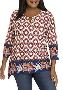 Plus Size Embellished Printed Sharkbite Knit Top