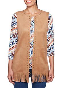 Petite Size Fringe Hem Suede Vest