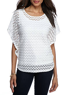 Ruby Rd Petite Geo Graphic Butterfly Lace Overlay Top