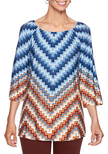 Petite Size Three-Quarter Sleeve Chevron Printed Knit Top