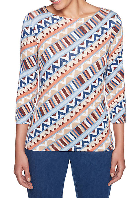 Ruby Rd Petite Size Escalante Patterned Knit Top
