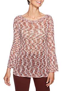 Petite Size Jewel-Neck Spacedye Sweater