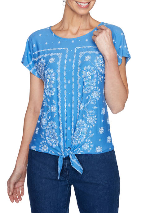 Womens Textured Puff Printed Paisley Border Front Tie Top
