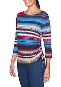 Embroidered Striped Knit Top