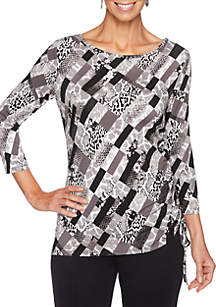 Must Haves II Patchwork Knit Top with Side Ruching
