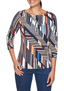 Must Haves II Geometric Striped Knit Top