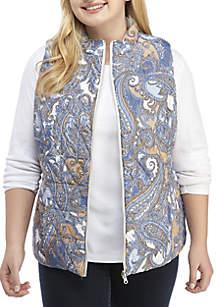 Plus Size Paisley Print Vest