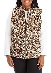 Plus Size Reversible Animal Print Vest