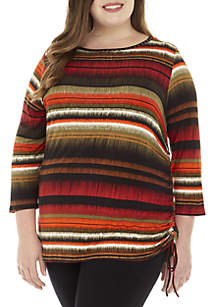 Plus Size Stripe Knit Top with Side Ruching