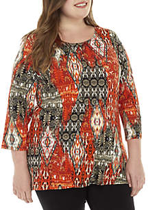 Plus Size Patchwork Printed Top With Shark-Bite Hem