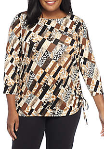 Plus Size  Must Haves II Patchwork Side Ruched Knit Top
