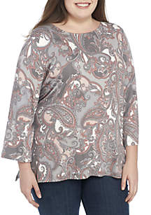 Plus Size Must Haves II Paisley Knit Top