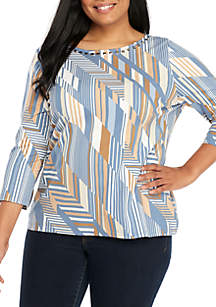 Plus Size Must Haves II Geo Striped Knit Top